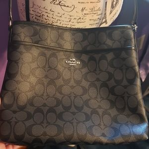 Coach file bag. Black with silver crossbody